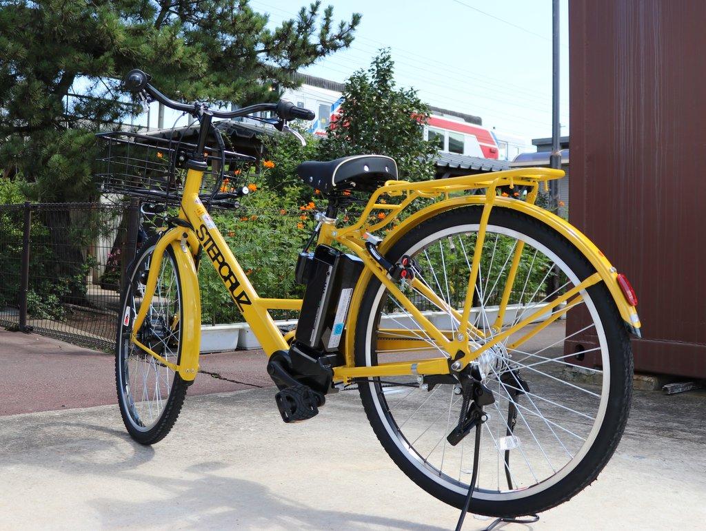 電動アシスト自転車レンタサイクル「のんチャリ」 のんちゃんと同じ黄色いカラーが目印