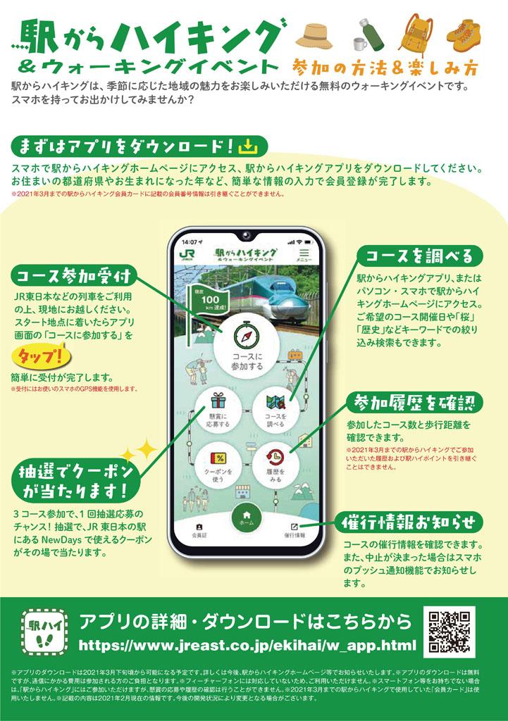 JR東日本 駅からハイキング&ウォーキング 野田村コース実施中 駅からハイキング チラシ