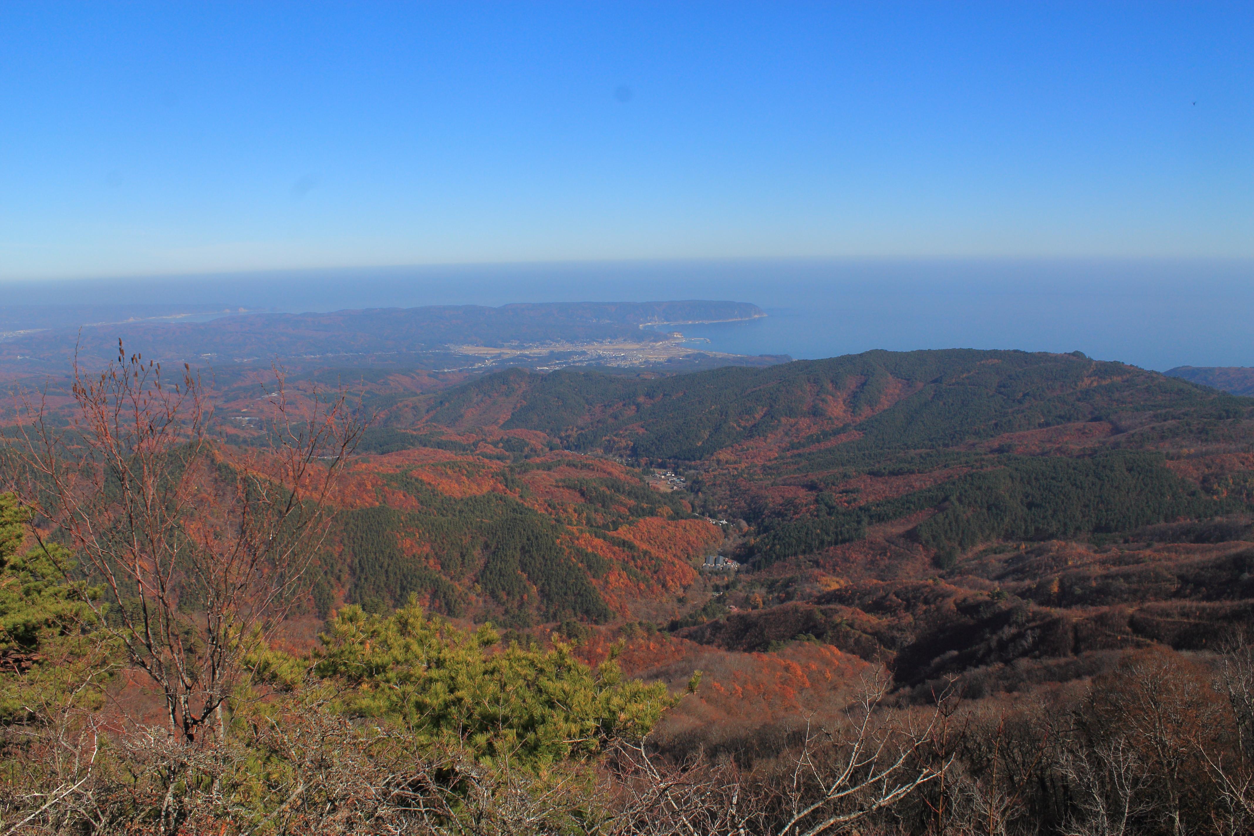 和佐羅比山から見るパノラマ紅葉(岩手県野田村)